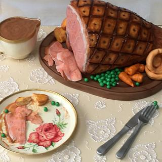 Roast ham cake  - Cake by Becky