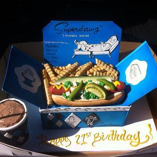 Hot dog cake