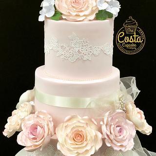 Blush wedding cake  - Cake by Costa Cupcake Company