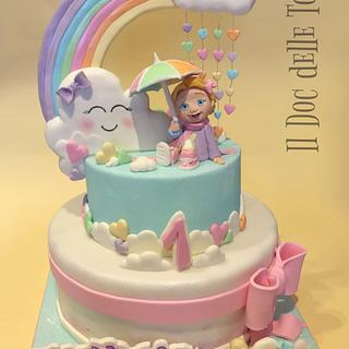 Cute Clouds and Rainbow Cake