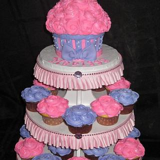 First Birthday Cupcake Tower