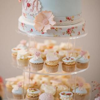 Hand painted cupcakes and vintage wedding cake