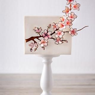 Cherry blossom birth cake