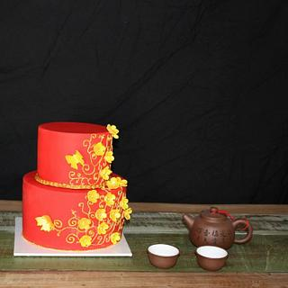 Red and Gold Chinese inspired Cake