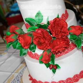 Roses and Rose hips for a 40th Wedding Anniversary - Cake by Suzanne Readman - Cakin' Faerie