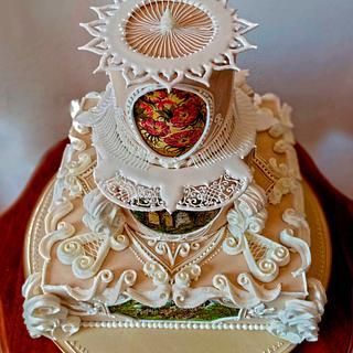 Royal Icing hand painted wedding cake