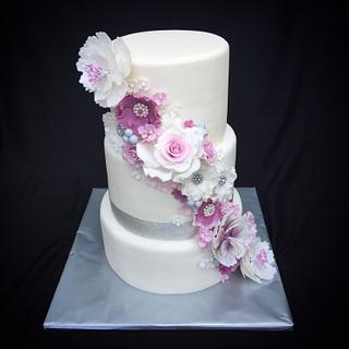 Purple cascade wedding cake