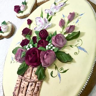 Bouquet with rosa and white iris - Cake by Andrea