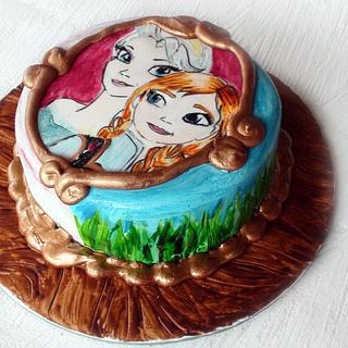 Hand painted Frozen Cake - Cake by Josie Durney
