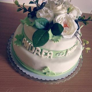 Wheddingcake - white rose - Cake by CindarellaCake
