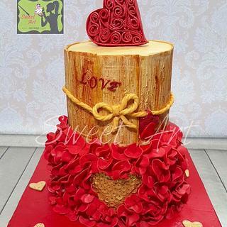 Red&gold wedding cake - Cake by Sweet Art