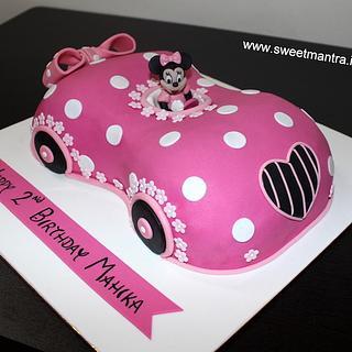Minnie Mouse Car shape theme 3D cake for girl's birthday