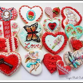 Vintage Shabby Valentine's Day Cookies