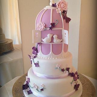 Mauve & Plum Romantic Birdcage Wedding Cake