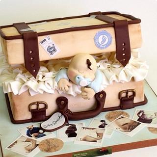Sleeping Baby Suitcase Cake