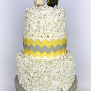 Yellow Chevron Wedding Cake
