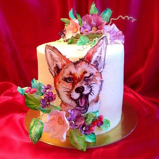 "Cake with hand-painted ""Sly Fox"""