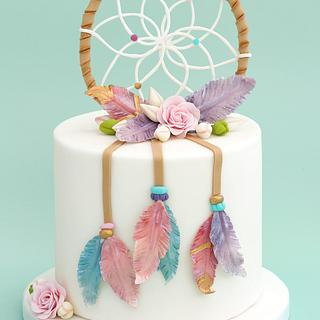 Dream Catcher Cake with gumpaste feathers