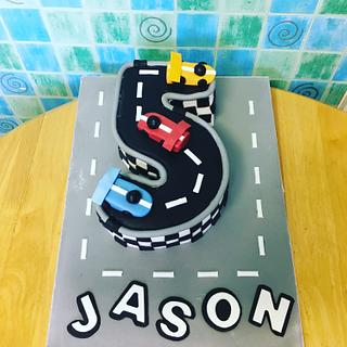 Number 5 race car cake - Cake by IDreamOfCakes