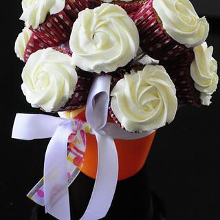Vase of cupcake flowers
