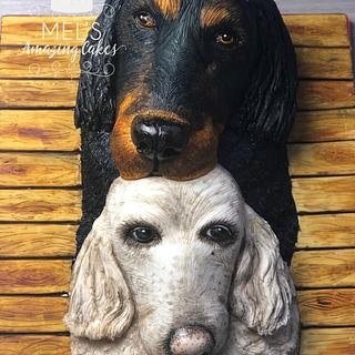 Two dogs sculpted cake