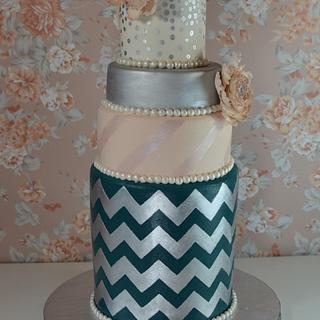 Chevron celebration cake