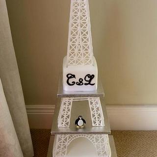 Eiffel Tower Engagement Cake