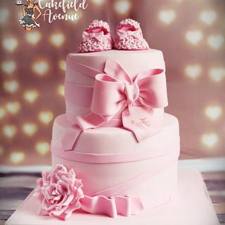 PRETTY IN PINK CHRITENING CAKE - Cake by Agatha Rogowska ( Cakefield Avenue)