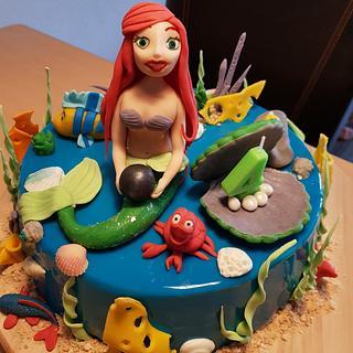 Mirror glaze princess Ariel cake