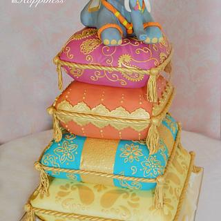 Indian Elephant on Cushions Wedding Cake