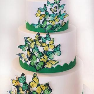 Beautiful cake with butterflies