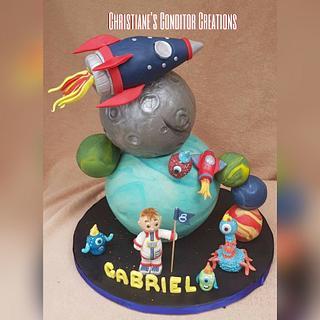 space universe rocketship cake
