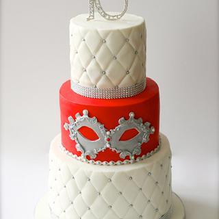 Masquerade  Theme 16th Birthday Cake - Cake by SprinkleSpark