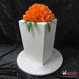 Modern Wedding Cake with Orange Tulips - Cake by Serdar Yener   Yeners Way - Cake Art Tutorials