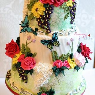 Spring theme with lots of royal icing flowers and gumpaste roses
