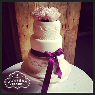 Peony and Lace Wedding cake - Cake by Hannah Gayfer