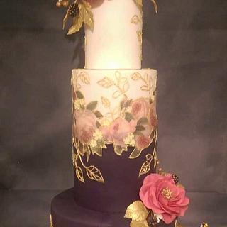 Purlple & Fuchia Guilded wedding cake - Cake by MySugarFairyCakes