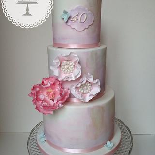 Watercolour 40th Birthday Cake