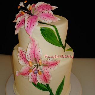 Painted Stargazer Lily Cake