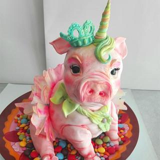 Pig+unicorn - Cake by carlaquintas