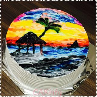Painting on whipped cream cake!