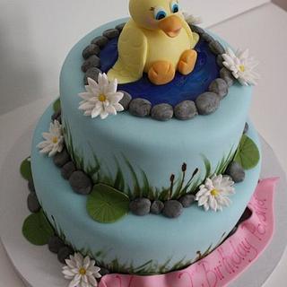 Ducky themed birthday cake