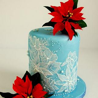 Royal Icing - brush embroidery, and sugar poinsettias - Christmas cake