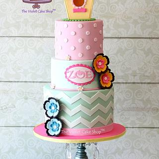 BIRDHOUSE Topper on a Polka Dots and Chevron Pastel Cake - Cake by Violet - The Violet Cake Shop™