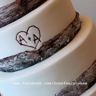 Tree bark theme wedding cake - Cake by Zoe's Fancy Cakes
