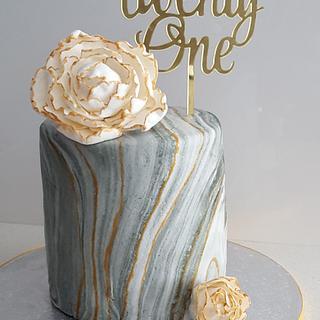 Marble 21st Birthday Cake