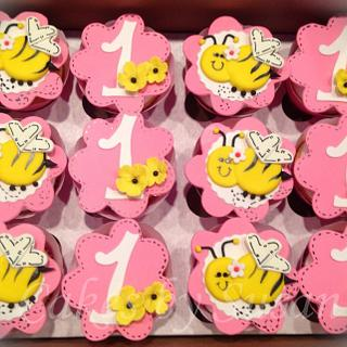 Bumblebee first birthday cupcakes