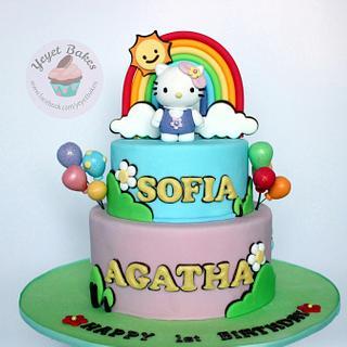 Hello Kitty Garden Theme Cake for 1st Birthday