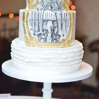 Winter woodland wedding cake