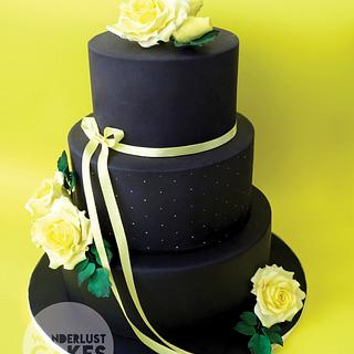 Yellow and black dummy Wedding Cake